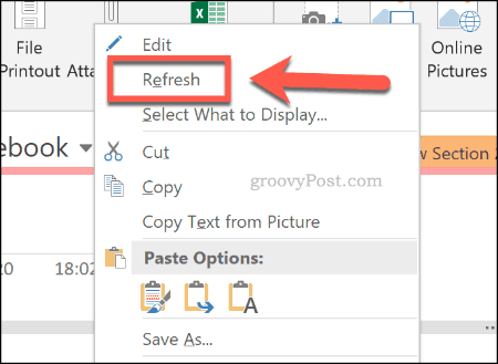 Refreshing an imported Excel spreadsheet in OneNote