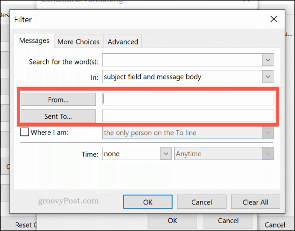 Setting a Conditional Formatting rule by email in Outlook