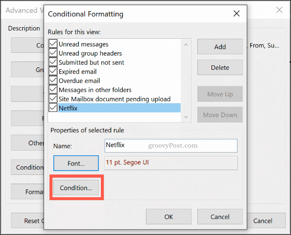 The Conditional Formatting Conditions button in Microsoft Outlook
