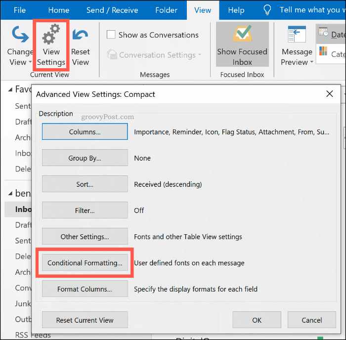 The Conditional Formatting options button in Microsoft Outlook