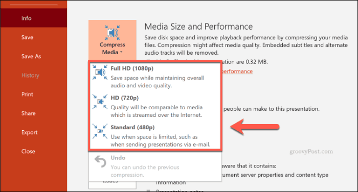 Compress Media options in PowerPoint