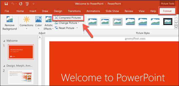 Compress Pictures button in PowerPoint