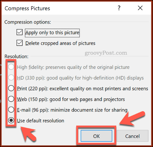 Compress Pictures options in PowerPoint