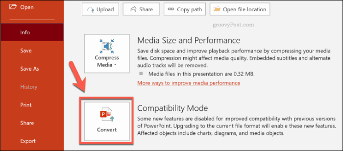 PowerPoint convert PPT to PPTX button