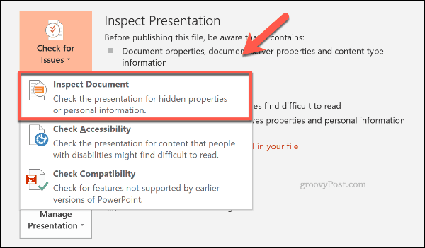 Inspect Document button in PowerPoint