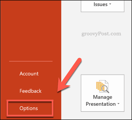 PowerPoint options button