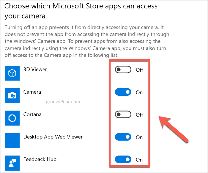 A list of UWP apps with camera access on Windows 10