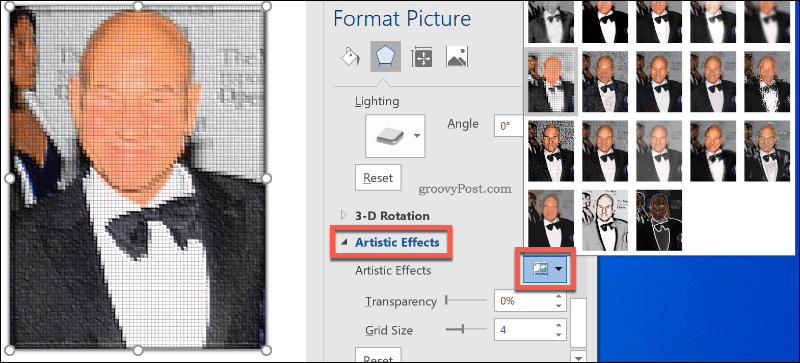 Adding Artistic Image Effects to images in Word