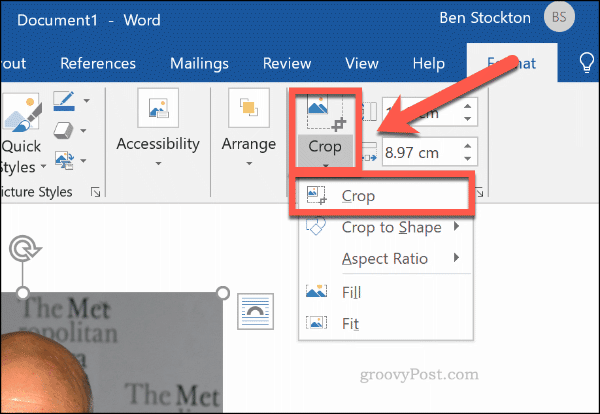 Cropping an image in Word