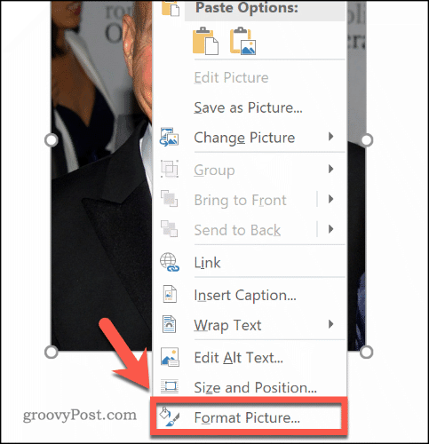 Entering the Format Picture menu in Word