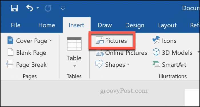 Inserting an image in Word