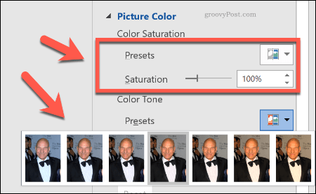 Making image color corrections in Word