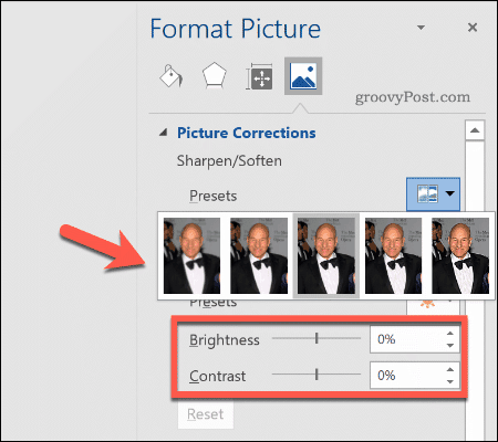 Performing image corrections in Word