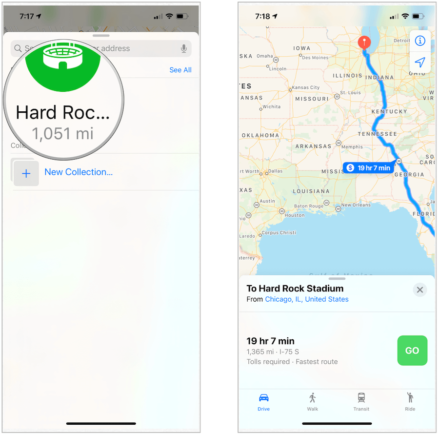 Apple Maps route to favorites