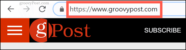 The groovyPost.com domain name in Chrome URL bar