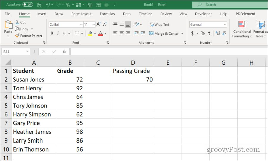 teacher grades example