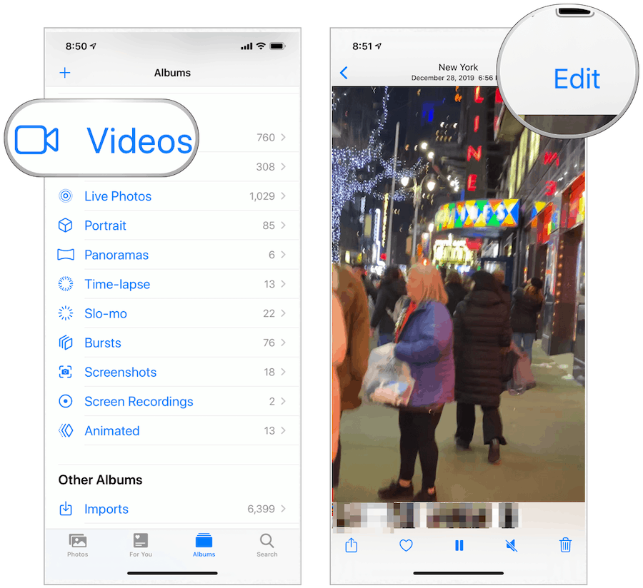Photos app edit video