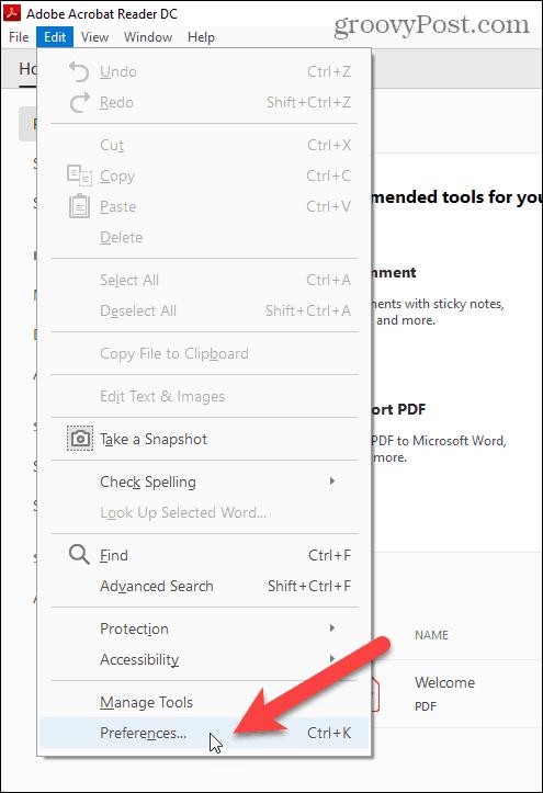 Select Preferences in the Edit menu in Adobe Acrobat Reader