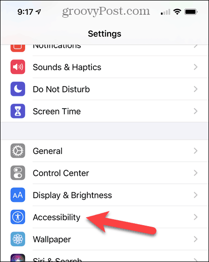 Tap Accessibility on the iPhone Settings screen