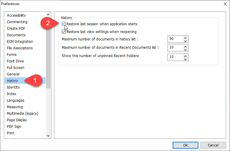 Restore last session when application starts in Foxit Reader