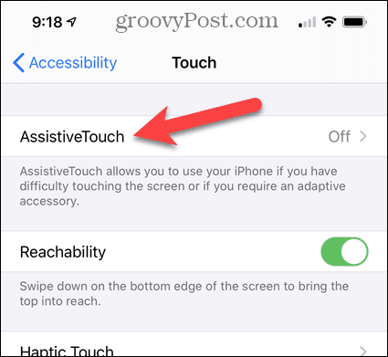 Tap AssistiveTouch in iPhone Settings