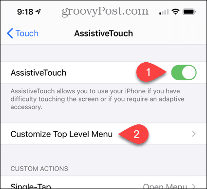 Enable AssistiveTouch and Customize Top Level Menu in iPhone Settings