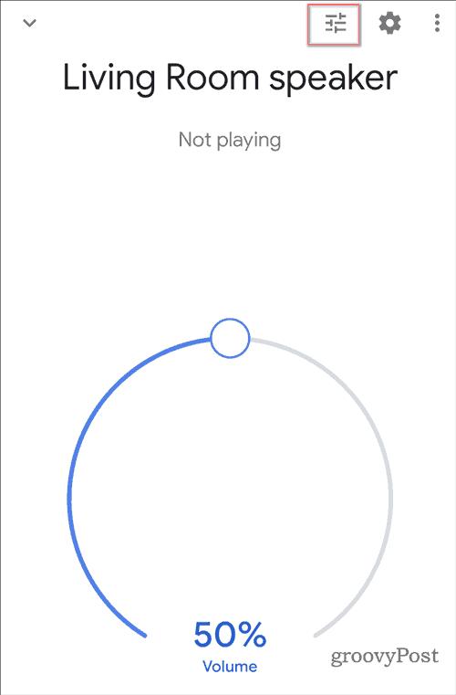 Google Home sound equalizer eq button