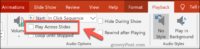 Setting audio to play across multiple slides in PowerPoint