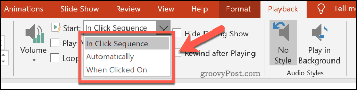 Various audio playback options in PowerPoint