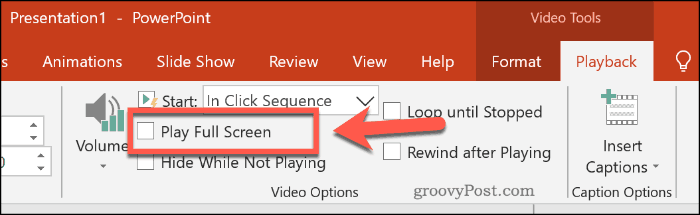Setting a video to play full screen in PowerPoint
