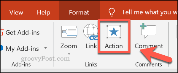 Setting an action in PowerPoint