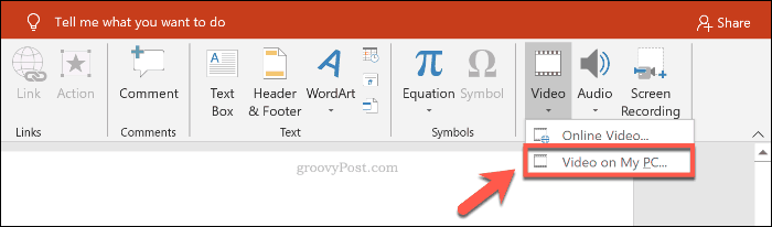 Inserting a video file into PowerPoint