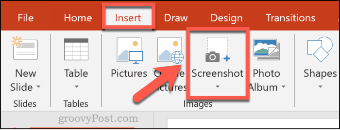 Inserting a screenshot in PowerPoint