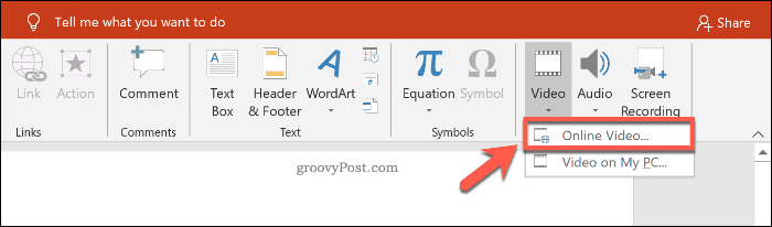 Inserting an online video in PowerPoint