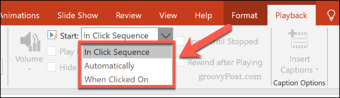 Choosing how an online video should play in PowerPoint