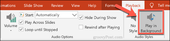 The Play in Background audio option in PowerPoint