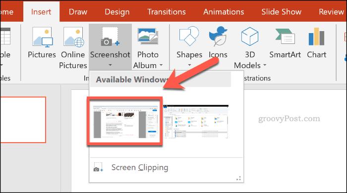 Choosing a screenshot window in PowerPoint