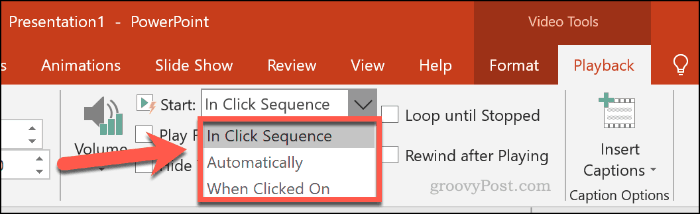 Choosing how a video should play in PowerPoint