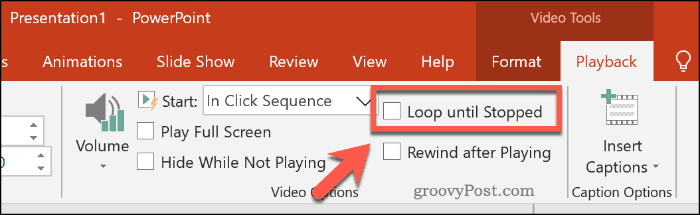 Looping a video in PowerPoint