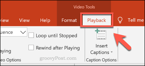 The playback menu tab for videos in PowerPoint