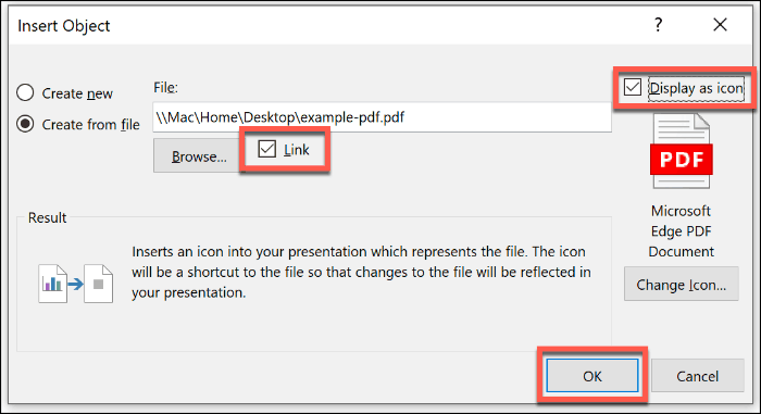 Inserting a PDF file as an object in PowerPoint