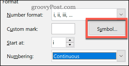 Setting a custom symbol for footnotes and endnotes in Word