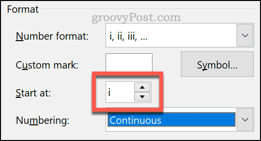 Setting a custom start number for footnotes and endnotes in Word