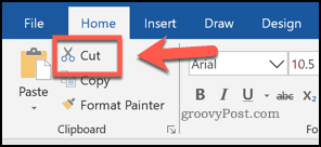 The cut button in Word