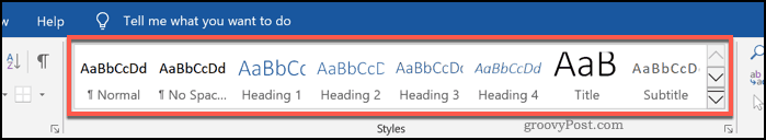 Heading styles in Word