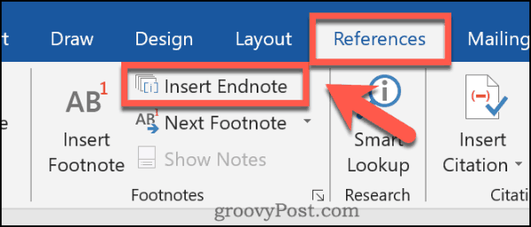 Inserting an endnote into Word