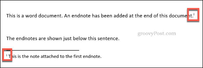 An inserted endnote in Word