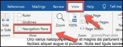 Enabling the navigation pane in Microsoft Word