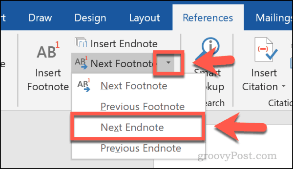 The Next Endnote button in Word