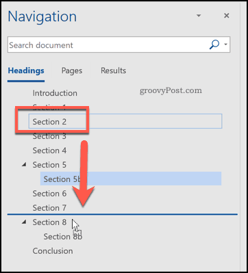 Rearranging headings using the navigation pane in Word
